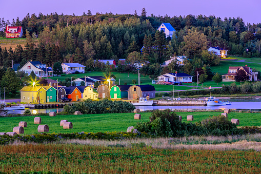 Small town of French River at dusk on Prince Edward Island, Canada